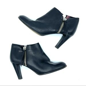 Coach Double Zipped Black Leather Ankle Booties
